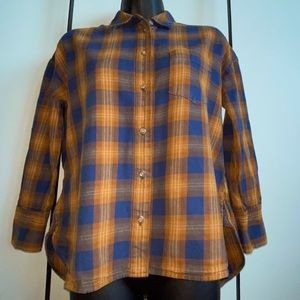 Madewell Long Sleeve Button Up Plaid Top Flannel